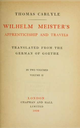 Wilhelm Meister's apprenticeship and travels by Johann Wolfgang von Goethe
