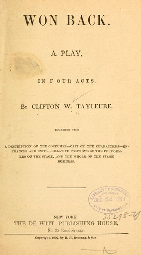 Won back by Clifton W. Tayleure