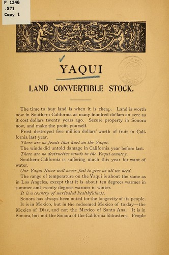 Yaqui land convertible stock by Sonora and Sinaloa irrigation company