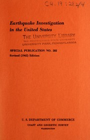 Cover of: Earthquake investigation in the United States | Frank Neumann