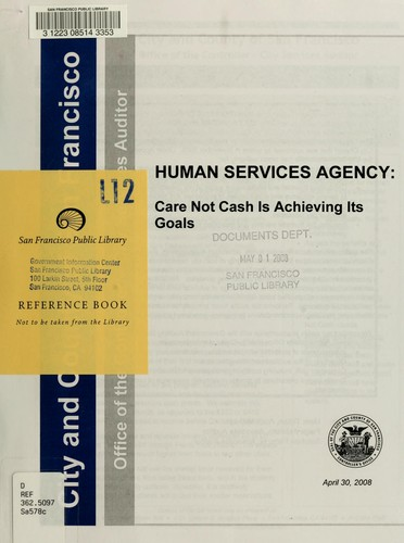 Human Services Agency by San Francisco (Calif.). Office of the Controller. City Services Auditor Division.