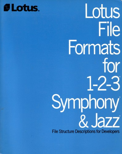 Lotus File Formats for 1-2-3 Symphony & Jazz by LOTUS