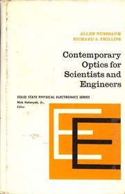 Cover of: Contemporary optics for scientists and engineers by Allen Nussbaum, Richard A. Phillips