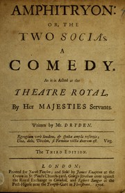 Cover of: Amphitryon, or, The two Socia's | John Dryden