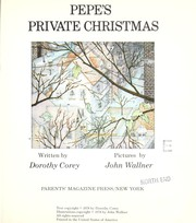 Cover of: Pepe's private Christmas by Dorothy Corey