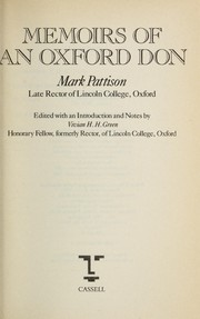 Cover of: Memoirs of an Oxford don | Mark Pattison