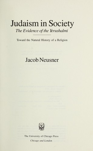 Judaism in society by Jacob Neusner