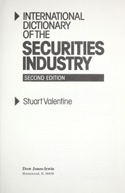 Cover of: International dictionary of the securities industry by S. P. Valentine
