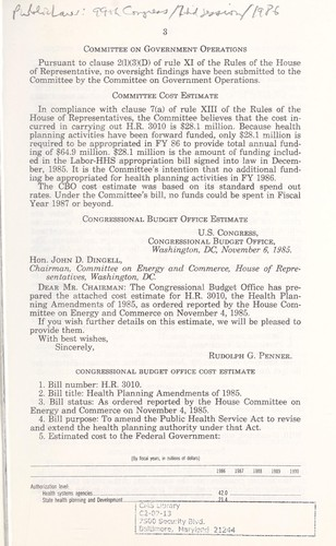 Health planning amendments of 1985 by United States. Congress. House. Committee on Energy and Commerce