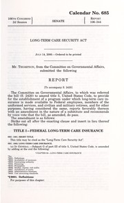 Cover of: Long-Term Care Security Act by United States. Congress. Senate. Committee on Governmental Affairs.