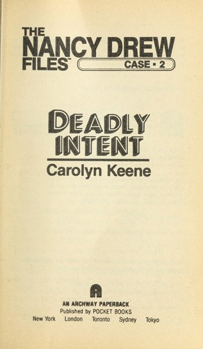 DEADLY INTENT (ND #2) by Carolyn Keene