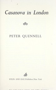 Cover of: Casanova in London | Quennell, Peter
