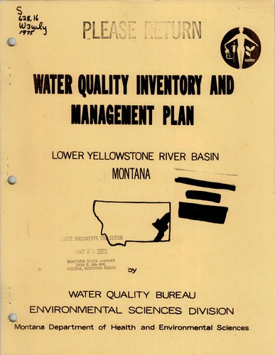 Water quality inventory and management plan, Lower Yellowstone Basin, Montana by Richard W. Karp
