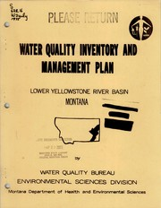 Cover of: Water quality inventory and management plan, Lower Yellowstone Basin, Montana | Richard W. Karp