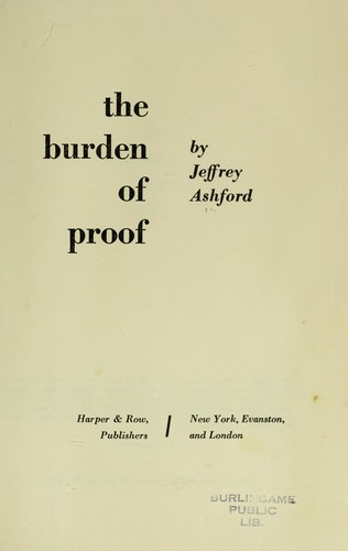 The burden of proof by Jeffrey Ashford