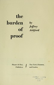Cover of: The burden of proof | Jeffrey Ashford