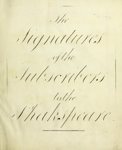 The signatures to the subscribers to the Shakspeare by John Boydell