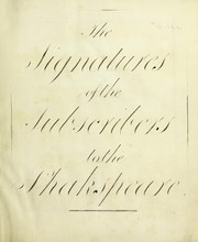 Cover of: The signatures to the subscribers to the Shakspeare | John Boydell