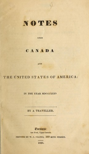 Notes upon Canada and the United States of America by Henry Cook Todd