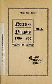 Cover of: Notes on Niagara, 1759-1860 by Niagara Historical Society.