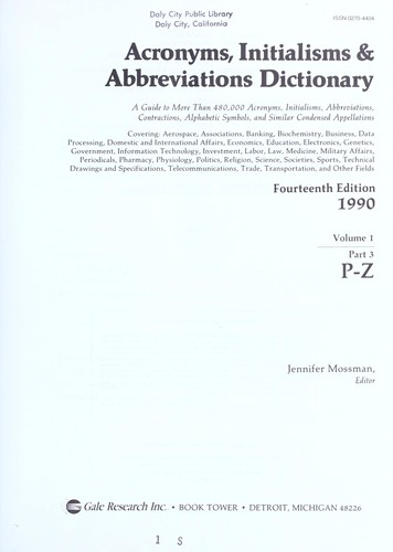 Acronyms, Initialisms and Abbreviations Dictionary, 1989 (Acronyms, Initialisms & Abbreviations Dictionary, A-F (Vol.1)) by Mossman