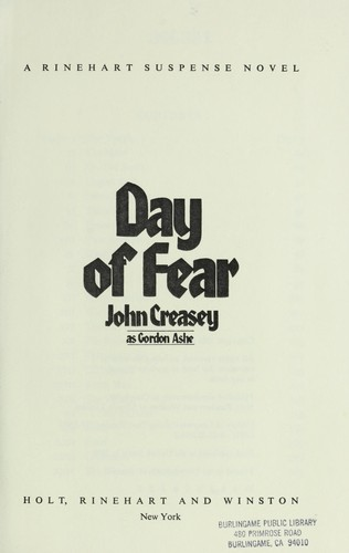 Day of fear by Gordon Ashe