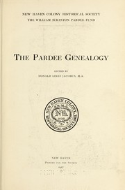 Cover of: ...The Pardee genealogy by Donald Lines Jacobus