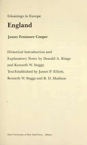 Gleanings in Europe, England by James Fenimore Cooper
