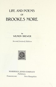 Cover of: Life and poems of Brookes More | More, Brookes