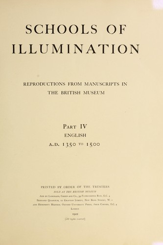Schools of illumination by British Museum. Department of Manuscripts.
