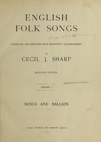 English folk songs by Cecil J. Sharp