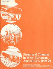 Cover of: Structural changes in West European agriculture, 1950-70 | Cynthia Ann Breitenlohner