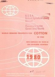 Cover of: World demand prospects for cotton in 1980 with emphasis on trade by less developed countries | Richard S. Magleby