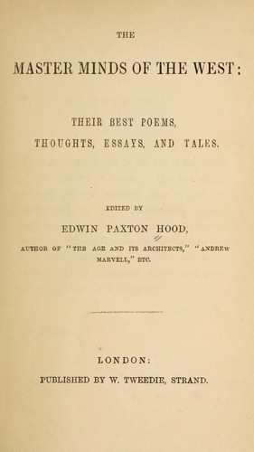The master minds of the West by Hood, Edwin Paxton