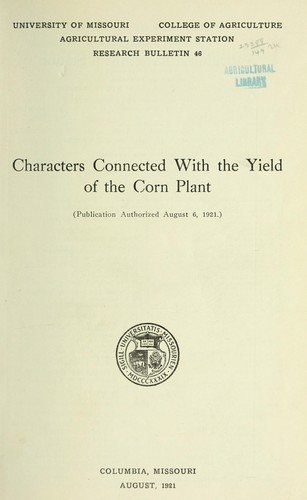 Characters connected with the yield of the corn plant by William Carlyle Etheridge