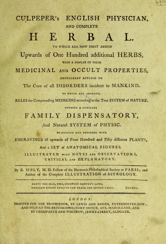 Culpeper's English physician ; and complete herbal by Nicholas Culpeper
