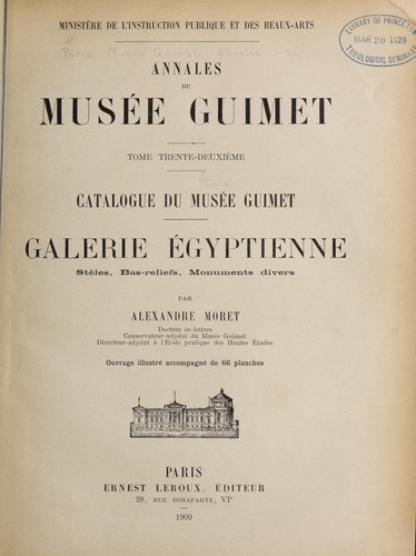 Catalogue du Muse e Guimet, galerie e gyptienne by Muse e Guimet (Paris, France)