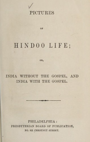 Pictures of Hindoo life by