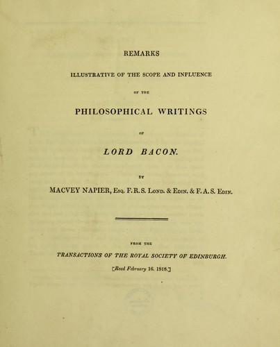 Remarks illustrative of the scope and influence of the philosophical writings of Lord Baron by Macvey Napier