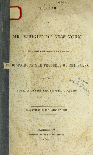 SPEECH OF MR. WRIGHT OF NEW YORK by Samuel Wright