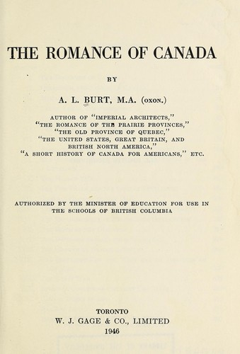 The romance of Canada by Alfred LeRoy Burt