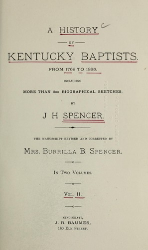 A history of Kentucky Baptists by John H. Spencer