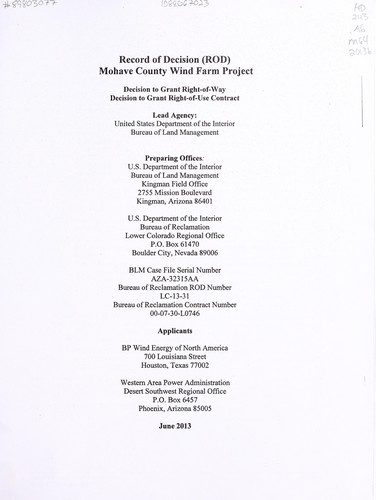 Record of decision for the proposed Mohave County Wind Farm Project by United States. Department of the Interior