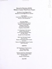 Cover of: Record of decision for the proposed Mohave County Wind Farm Project | United States. Department of the Interior