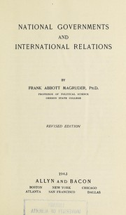 Cover of: National governments and international relations | Magruder, Frank Abbott