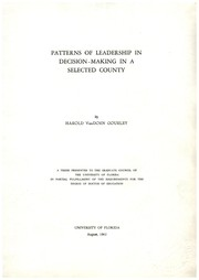 Cover of: Patterns of leadership in decision-making in a selected county | Harold VanDorn Gourley
