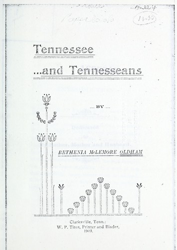 Tennessee and Tennesseans by Bethenia McLemore Oldham