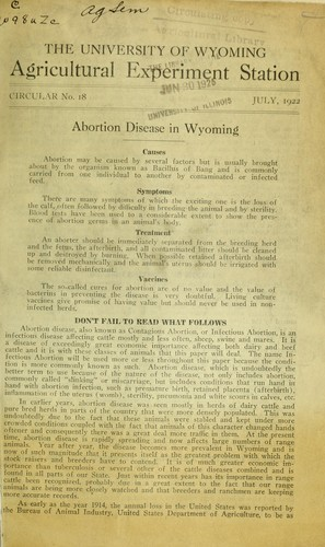 Abortion disease in Wyoming by Cecil Elder
