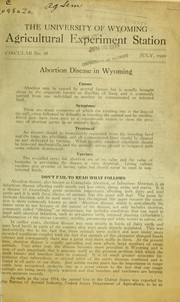 Cover of: Abortion disease in Wyoming | Cecil Elder