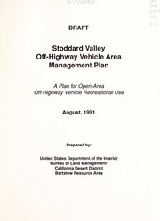 Cover of: Stoddard Valley off-highway vehicle area management plan | United States. Bureau of Land Management. Barstow Resource Area